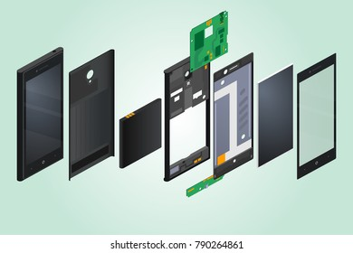 the disassembled phone against the background of