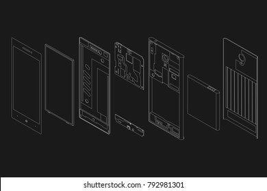 the disassembled phone against the background