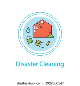 Disaster cleaning concept line icon.Restoration process after earthquake, flooding, fire. Cleanup services. Mopping, wiping, dusting. Cleaning concept.Vector isolated conception metaphor illustration