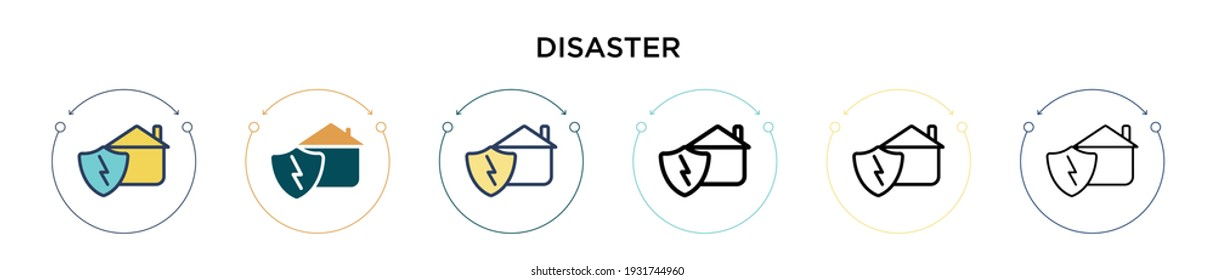 Disaster icon in filled, thin line, outline and stroke style. Vector illustration of two colored and black disaster vector icons designs can be used for mobile, ui, web