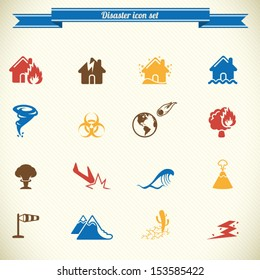 Disaster icon set in color