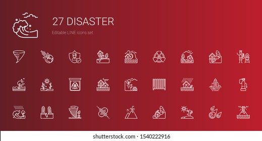 disaster icons set. Collection of disaster with drought, landslide, eruption, collision, tornado, earthquake, tsunami, flood, radiator, radiation. Editable and scalable disaster icons.