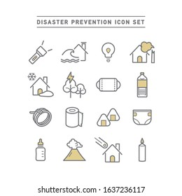 DISASTER PREVENTION LINE ICON SET
