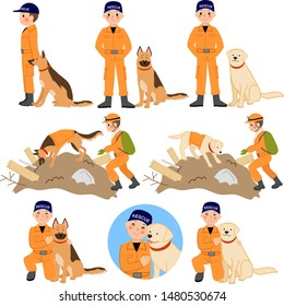 Disaster relief crew and disaster rescue dog