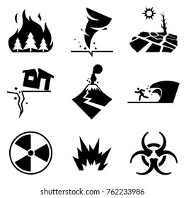 Disaster strikes. Set of disaster Related Vector Icons contains such icons as earthquake, tsunami, volcanic eruption, terrorist attack, chemical attack and others.