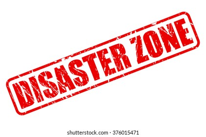 DISASTER ZONE red stamp text on white