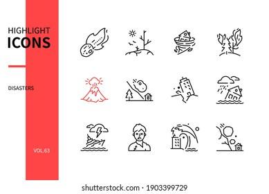 Disasters - modern line design style icons set. Natural catastrophe idea. Meteorite, drought, hurricane, fire, eruption, avalanche, earthquake, flood, shipwreck, zombie apocalypse, tsunami, rock fall