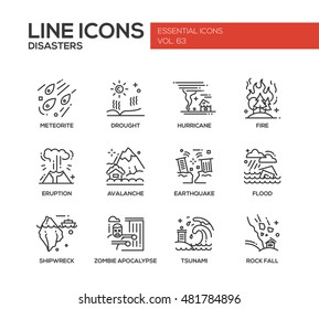 Disasters - set of modern vector plain line design icons and pictograms. Meteorite, drought, hurricane, fire, volcano eruption, avalanche, earthquake, flood, shipwreck, zombie apocalypse, tsunami