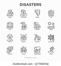 Disasters thin line icons set: earthquake, tsunami, tornado, hurricane, flood, landslide, drought, snowfall, eruption, thunderstorm, avalanche, meteorite, wildfire. Modern vector illustration.