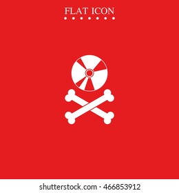 Disc with crossbones. Copyright piracy concept. Flat style icon.