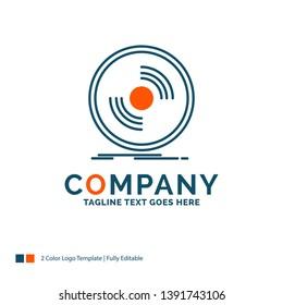 Disc, dj, phonograph, record, vinyl Logo Design. Blue and Orange Brand Name Design. Place for Tagline. Business Logo template.