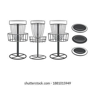 Disc Golf Basket And Discs Printable Vector