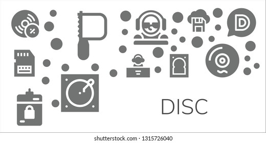 disc icon set. 11 filled disc icons.  Collection Of - Vynil, Saw, Sd card, DJ, Harddrive, Hard drive, Turntable, Diskette, Vinyl, Disqus