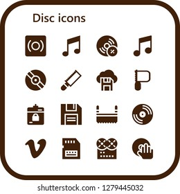 disc icon set. 16 filled disc icons. Simple modern icons about  - Record, Music, Vynil, Vinyl, Saw, Diskette, Harddrive, Vimeo, Sd card, DJ