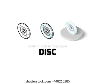Disc icon, vector symbol in flat, outline and isometric style