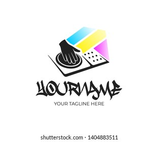 Disc jockey or DJ plays on CD players at nightclub, logo design. Dj mixing on turntable, EDM, party, disco club and music festival, vector design and illustration