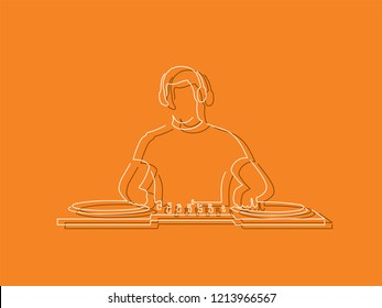 Disc jockey isolated line drawing, vector illustration design. Music collection.