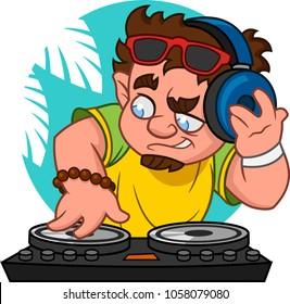 Disc jockey. Vector illustration.