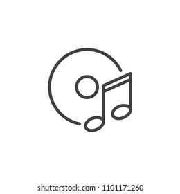 Disc and music note outline icon. linear style sign for mobile concept and web design. cd music simple line vector icon. Symbol, logo illustration. Pixel perfect vector graphics