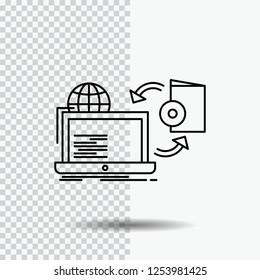 Disc, online, game, publish, publishing Line Icon on Transparent Background. Black Icon Vector Illustration