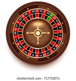 Disc Roulette for Casino Games view from above. Realistic vector 3d cartoon illustration