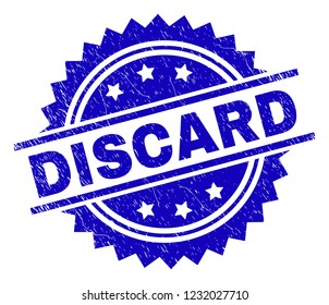 DISCARD stamp seal watermark with distress style. Blue vector rubber print of DISCARD label with grunge texture.