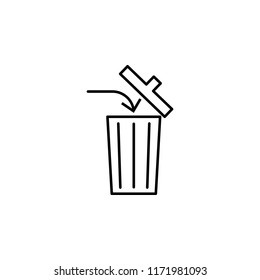 discard trash icon. Element of arrow and object icon for mobile concept and web apps. Thin line discard trash icon can be used for web and mobile