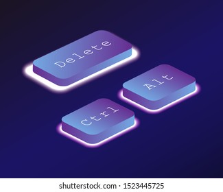 Discharge. Covered with a neon backlit keyboard button. Software development concept. Vector illustration.