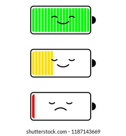 Discharged battery and fully charged smartphone, charge level indicators. Funny character. Vector cartoon flat design
