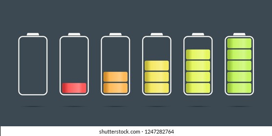 discharged to fully charged battaries, isolated vector icons, stock illustration