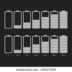 Discharged and fully charged battery smartphone. Vector illustration. Set of battery charge level indicators. Icon isolated on black background.