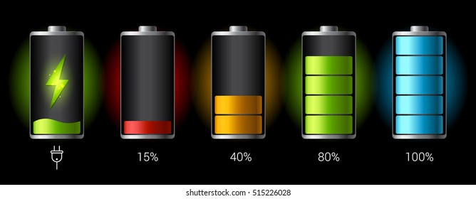 Discharged and fully charged battery smartphone - vector infographic. Isolated on black background
