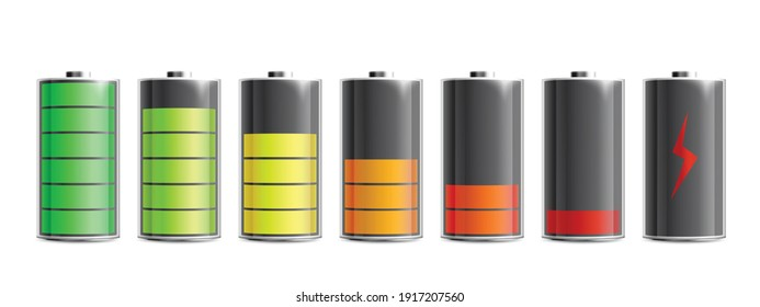 Discharged and various level energy alkaline batteries infographic set, realistic vector illustration isolated on background. Electric power accumulators bundle.