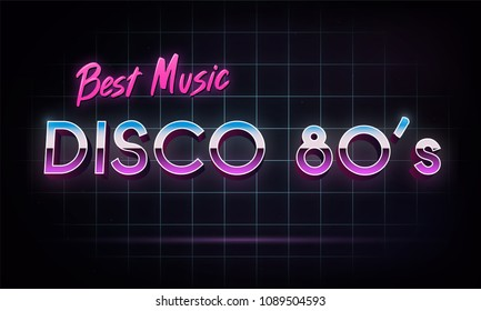 Disco 80's best music - banner. Retro 1980's neon grid in space. Vector illustration.