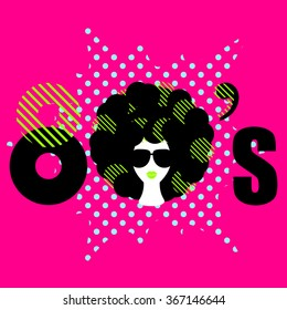 Disco 80s style dance party flyer vector template. Funky girl with curly bold black hair and sunglasses on pink background. Stylized 80s text inscription for flyer, banner, ad or product design.