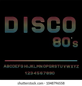 Disco Alphabet. 80 s Retro Font. Vector disco alphabet