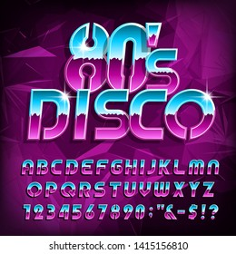 80's Disco alphabet font. Letters, numbers and symbols on polygonal background. Stock vector typescript font for your design in retro 80s style.