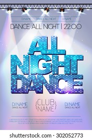 Disco background. All night dance poster