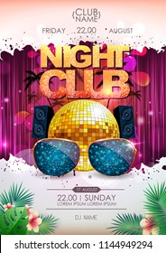 Disco background. Disco ball summer party poster. Night club