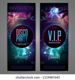 Disco ball background. Disco party poster on open space background