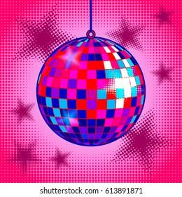 Disco ball comic book pop art retro style vector illustration