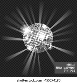 Disco ball with glow. Really transparency effect. Disco background. Template for your design. Silver