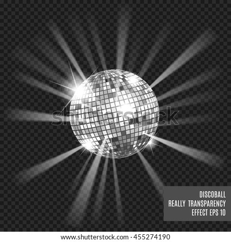 disco ball glow really transparency effect stock vector. Black Bedroom Furniture Sets. Home Design Ideas