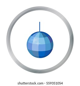 Disco ball icon in cartoon style isolated on white background. Event service symbol stock vector illustration.