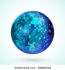 Disco ball icon. Colorful disco mirror ball isolated. Design element for party flyer, poster or brochures. Vector illustration.
