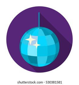Disco ball icon in flat style isolated on white background. Event service symbol stock vector illustration.
