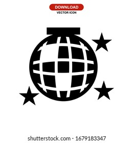 disco ball icon or logo isolated sign symbol vector illustration - high quality black style vector icons