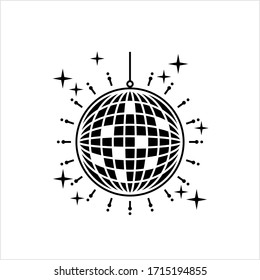 Disco Ball Icon, Mirror, Glitter Ball, Spherical Rotating Object With Reflecting Surface Vector Art Illustration