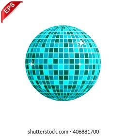 disco ball icon, vector mirror ball, isolated  disco ball