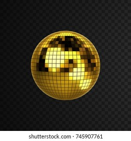 Disco ball isolated on black transparent background. Vector illustration of mirror ball. Nightlife concept. Shiny 3d sphere